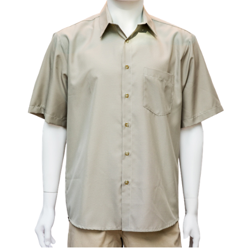 Cipollini-New Men's S/S Wet no Sweat 1 Pocket Button Front Shirt (M,L, Taupe)